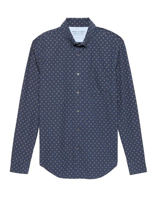 Grant Slim-Fit Tilki Desenli Poplin Gömlek