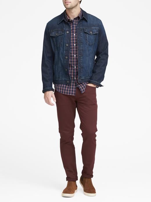 Erkek kırmızı Grant Slim-Fit Poplin Klasik Gömlek