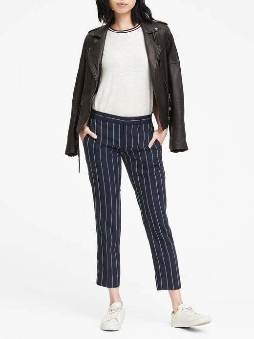 Kadın lacivert Avery Straight-Fit Çizgili Streç Pantolon