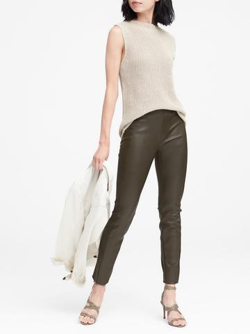 Kadın Yeşil Devon Fit Vegan Deri Pantolon