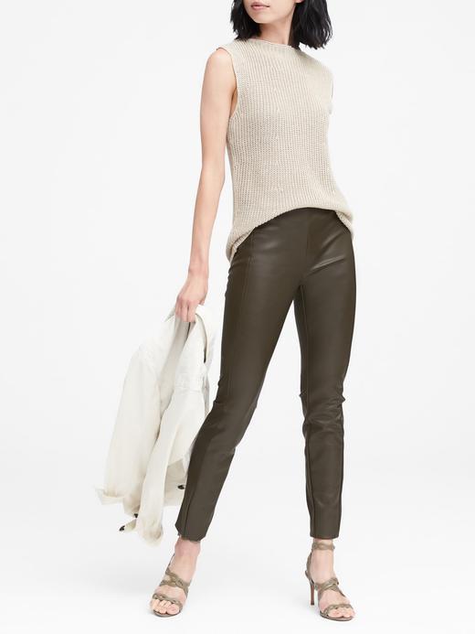 Kadın siyah Devon Fit Vegan Deri Pantolon