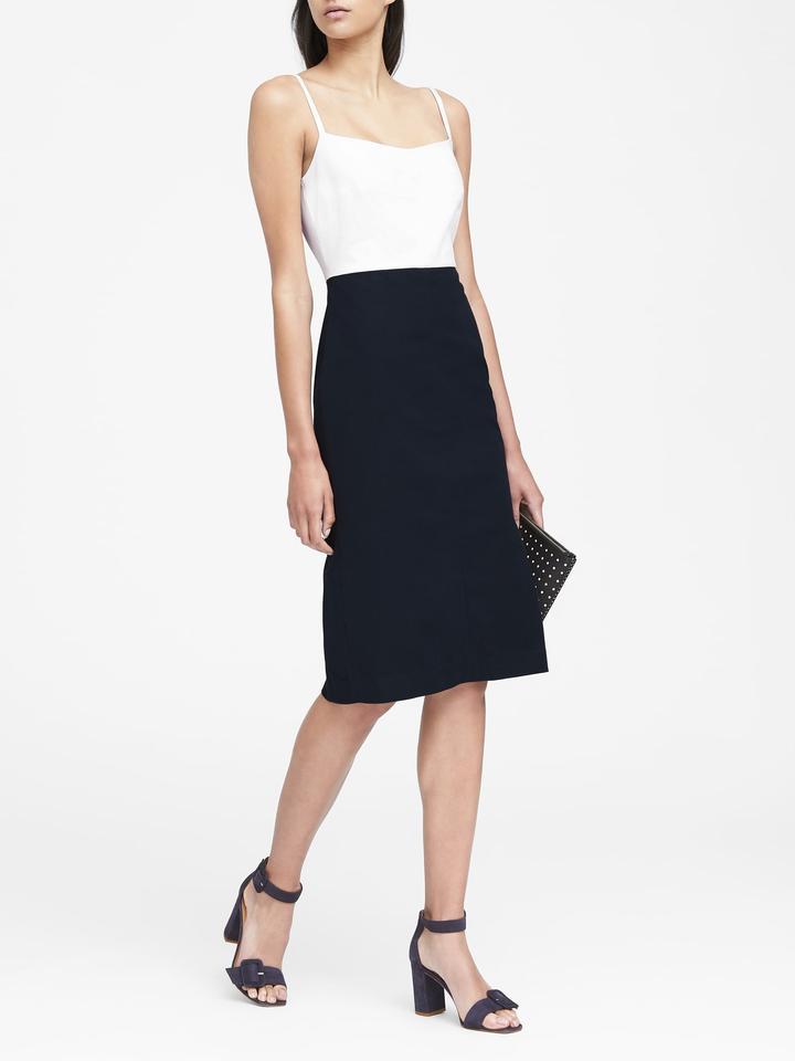 Kadın lacivert Askılı Streç Sheath Elbise