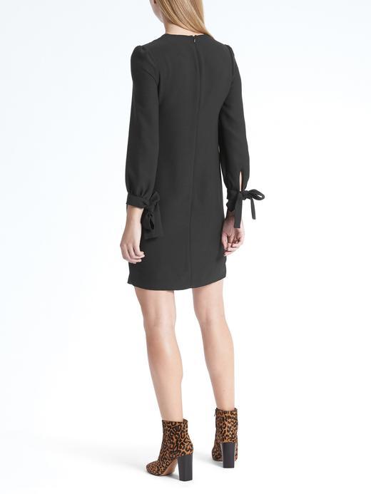 siyah Kolları Fiyonk Detaylı Elbise