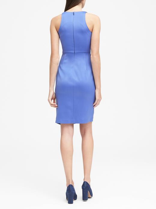 Kadın mavi Yırtmaçlı Kolsuz Elbise