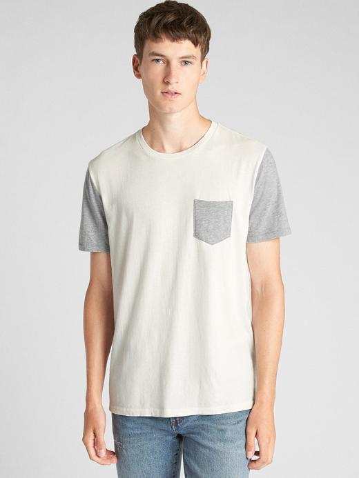Erkek kirli beyaz Essential Kısa Kollu Cepli T-Shirt