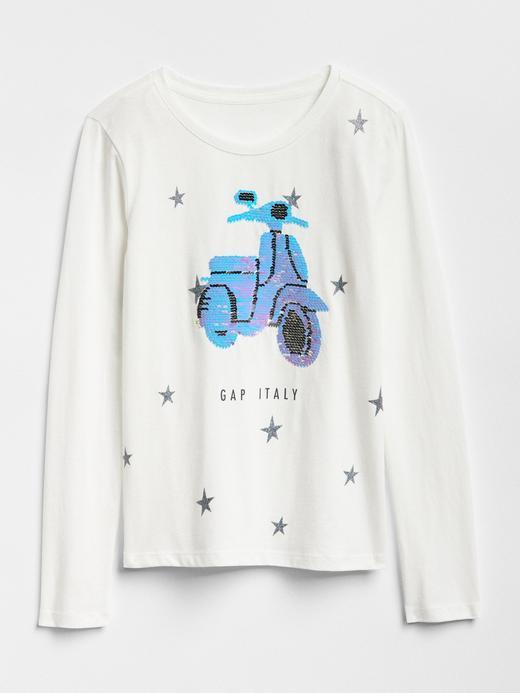 Kız Çocuk gri Değişen Pullu Baskılı T-Shirt
