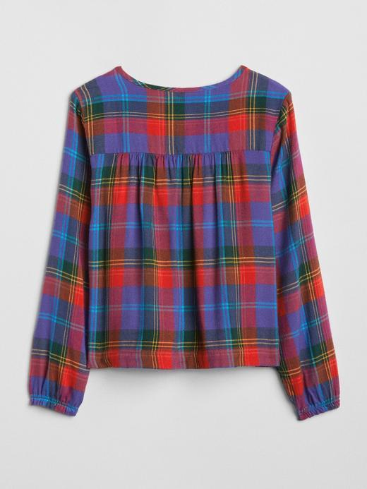 Kız Çocuk Pembe Uzun Kollu Ekose Bluz