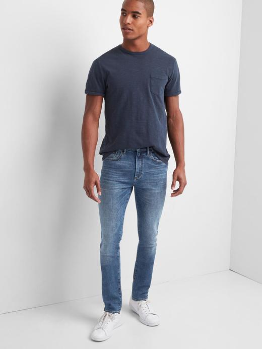 Erkek orta indigo Skinny Fit GapFlex Jean Pantolon