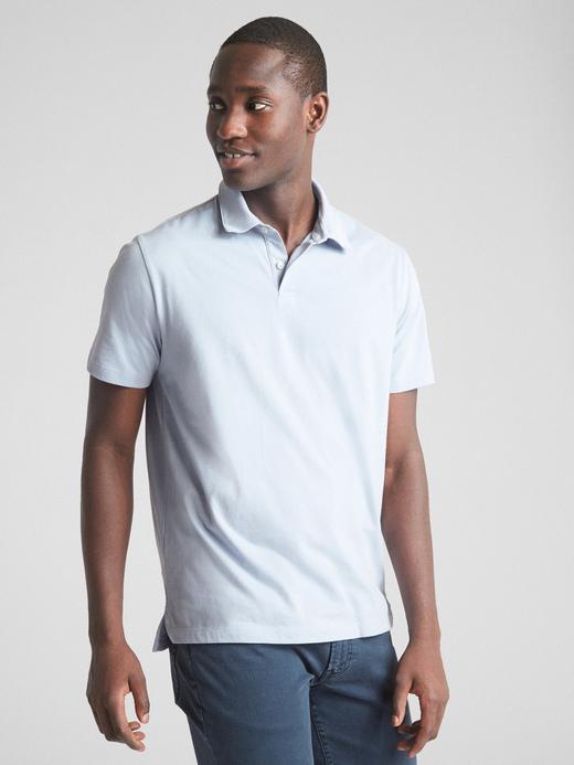 Erkek buz mavisi Kısa Kollu Polo Yaka T-Shirt