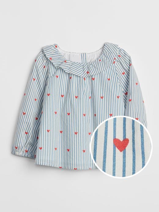 Bebek Mavi Desenli Fırfır Detaylı Bluz