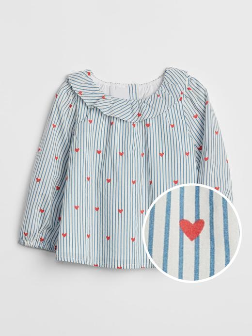 Desenli Fırfır Detaylı Bluz