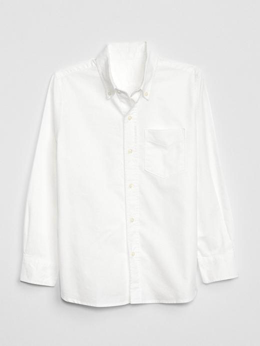 Erkek Çocuk Beyaz Uniform Oxford Uzun Kollu Gömlek