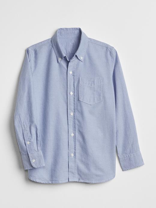 Erkek Çocuk oxford mavi Uniform Oxford Uzun Kollu Gömlek