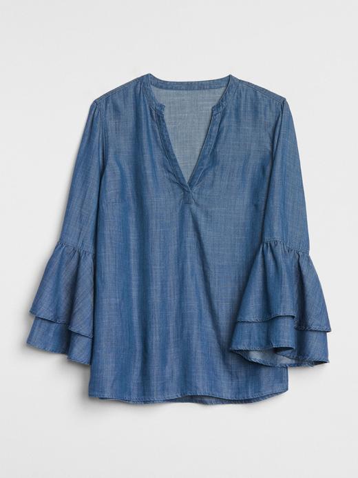 Kadın orta indigo Uzun Kollu Tencel™ Bluz