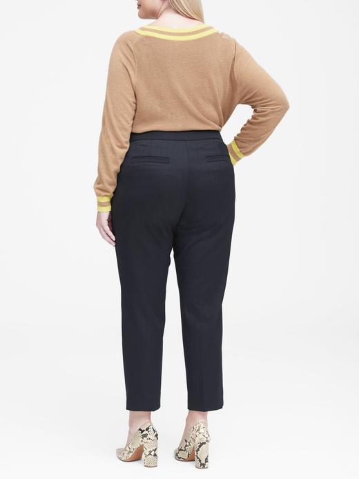 Kadın lacivert Avery Straight-Fit Düğmeli Pantolon