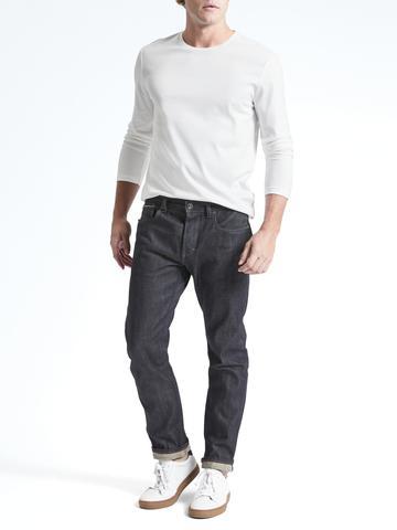Erkek Siyah Luxury-Touch Sıfır Yaka T-Shirt