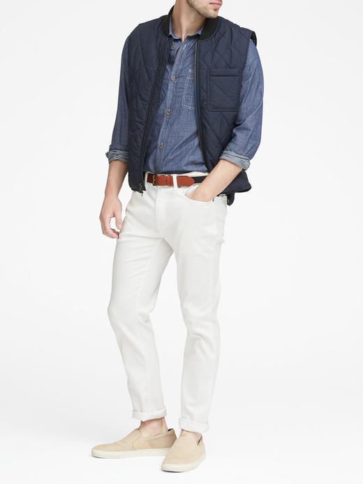 Erkek lacivert Slim-Fit Cepli Şambre Gömlek