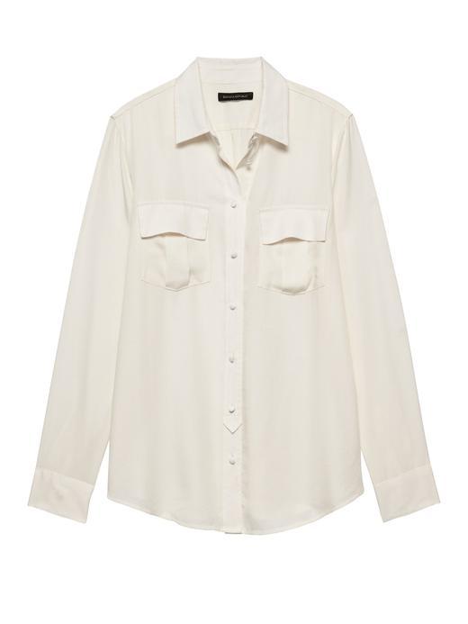 Kadın Beyaz Dillon Classic-Fit Tencel™ Gömlek