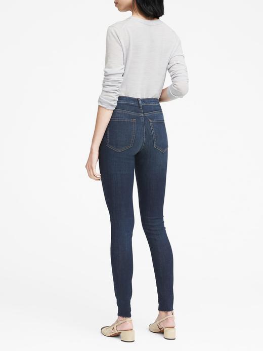 Kadın Koyu indigo Yüksek Belli Leggin-Fit Orta Yıkamalı Jean Pantolon
