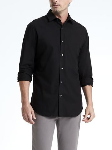 Erkek siyah Grant Slim-Fit Ütü Gerektirmeyen Gömlek