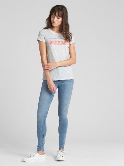 Kadın Beyaz Baskılı Vintage Sıfır Yaka T-Shirt