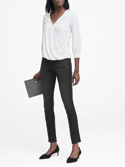 Kadın siyah Kadife Detaylı Skinny Siyah Jean Pantolon