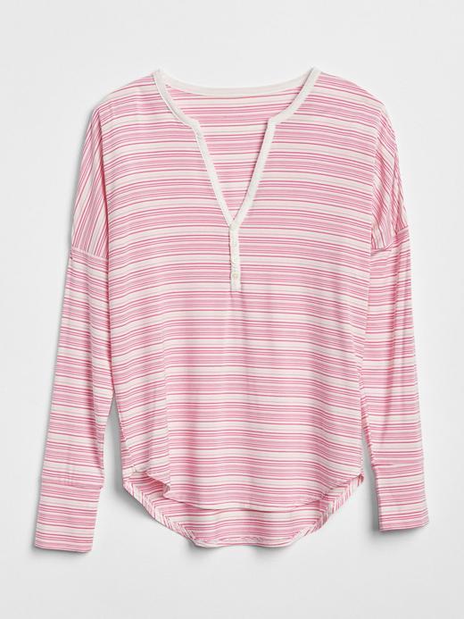 Uzun Kollu Desenli Modal Karışımlı Pijama Üstü