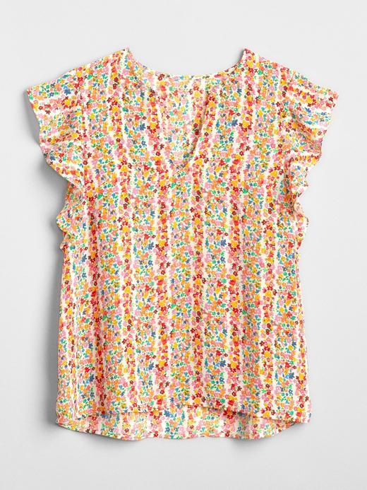 Fırfır Kollu Desenli Bluz