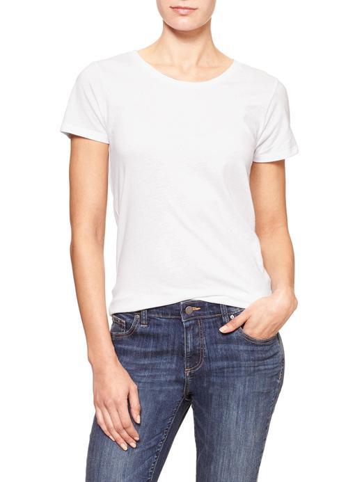 Kadın Beyaz Sıfır Yaka T-Shirt