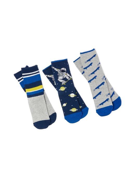 Erkek Çocuk mavi 3'lü Desenli Çorap