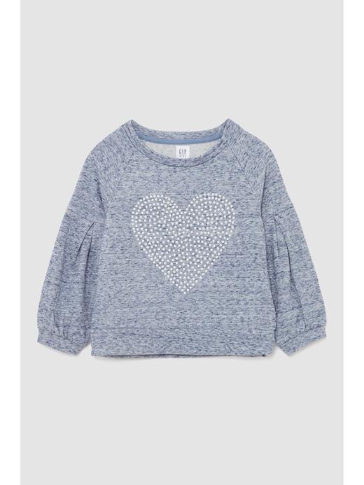 Kalp Desenli Uzun Kollu T-Shirt