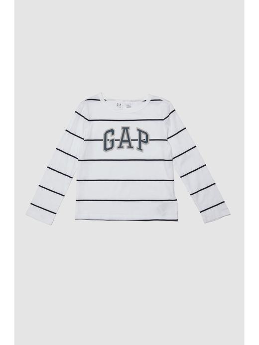 Çizgili Uzun Kollu Logolu T-Shirt