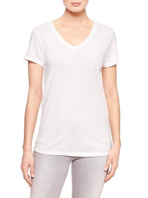 Kadın Beyaz Favorite V Yaka T-Shirt