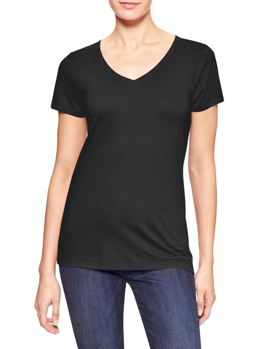 Kadın Siyah Favorite V Yaka T-Shirt