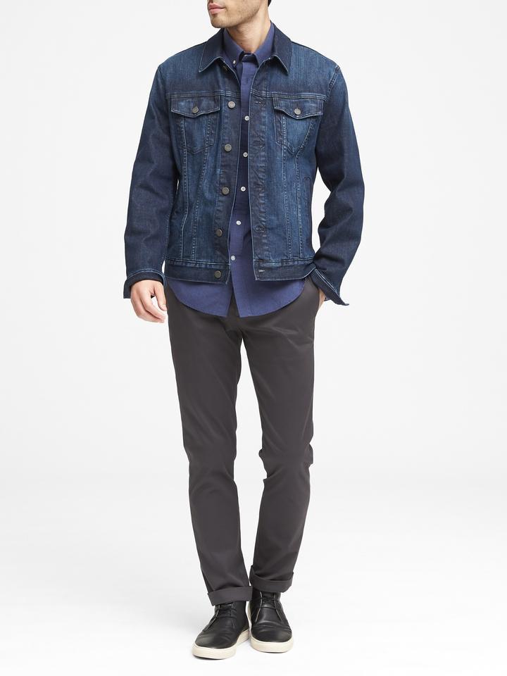 Erkek mavi Grant Slim-Fit Luxe Poplin Desenli Gömlek