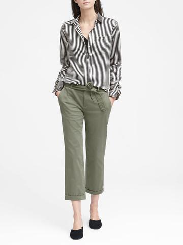 Kadın yeşil Avery Straight-Fit Kuşaklı Saten Pantolon