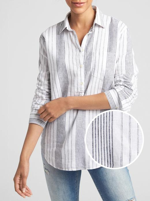 Kadın siyah beyaz Çizgili Uzun Kollu Gömlek