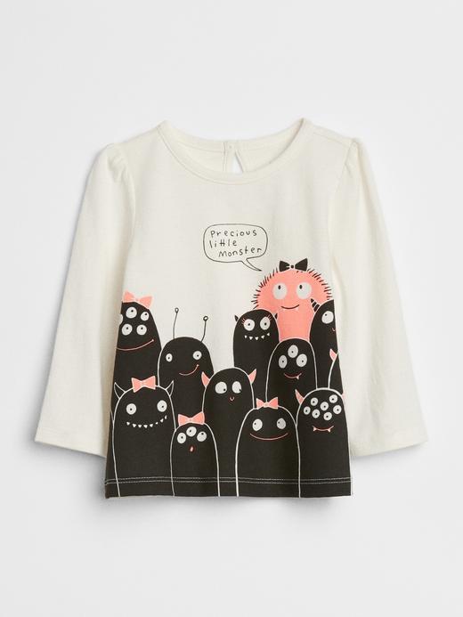 Bebek kırık beyaz Baskılı Uzun Kollu T-Shirt