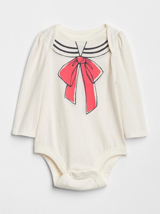 Bebek kırık beyaz Baskılı Uzun Kollu Body