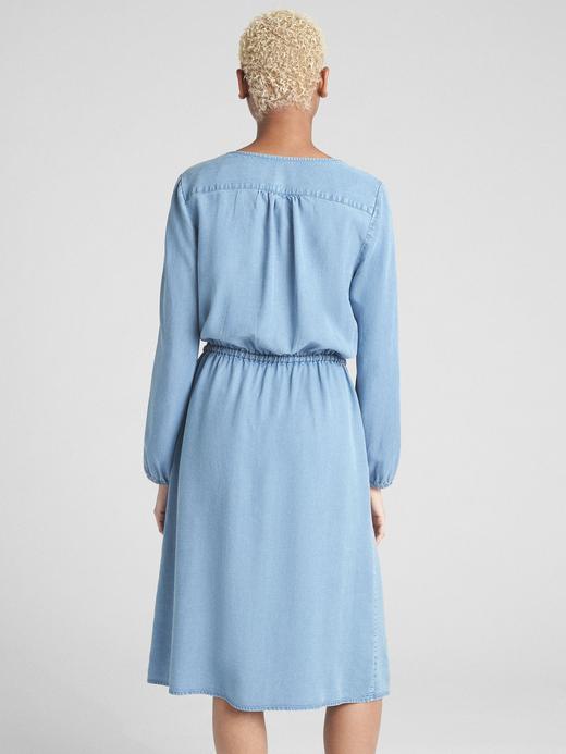 Tencel™ Uzun Kollu Midi Elbise