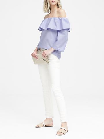 Kadın Mavi Düşük Omuzlu Streç Bluz