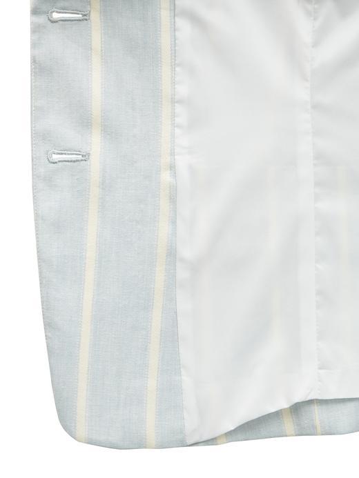 Keten Pamuk Karışımlı Çizgili Kısa Blazer Ceket