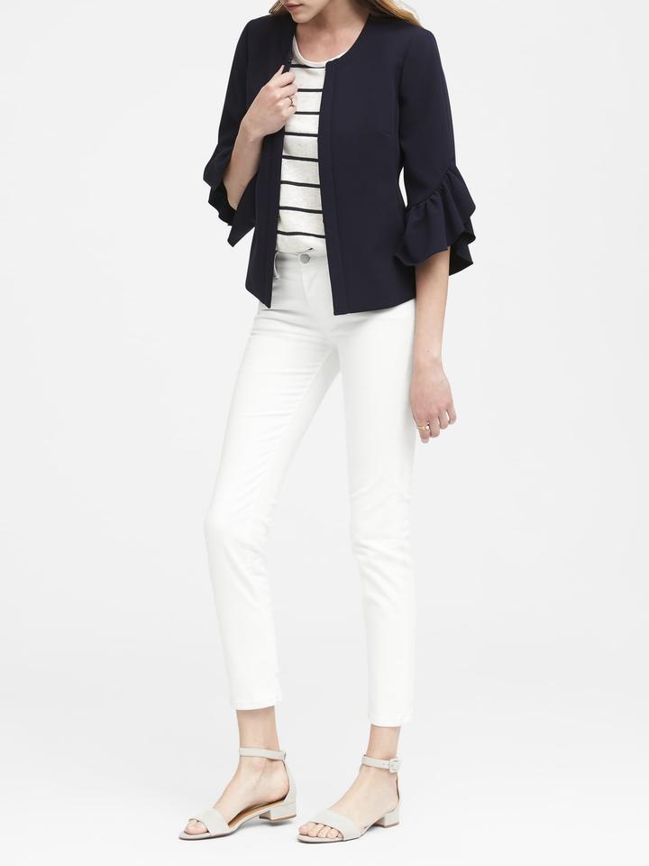 Kadın Lacivert Fırfır Kollu Kısa Ceket