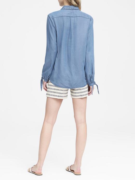 Kadın açık renk yıkama Dillon Classic-Fit Tencel™ Gömlek