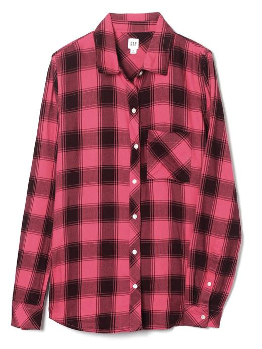 Kadın kırmızı ekose Uzun Kollu Ekose Gömlek