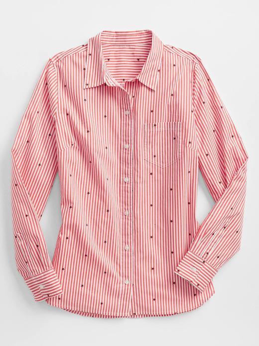Kadın Pembe Çizgili Yıldız Desenli Poplin Gömlek