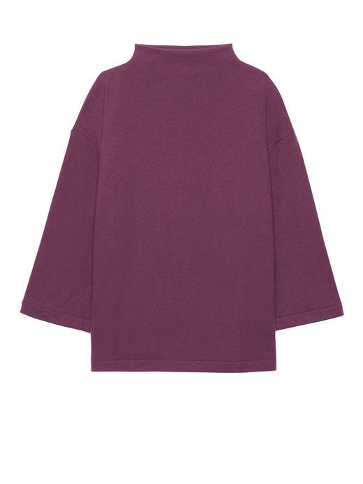 Kadın koyu pembe Uzun Kollu Jarse T-Shirt