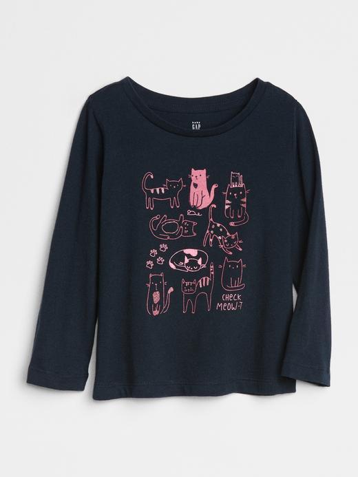 Bebek Lacivert Baskılı Uzun Kollu T-Shirt