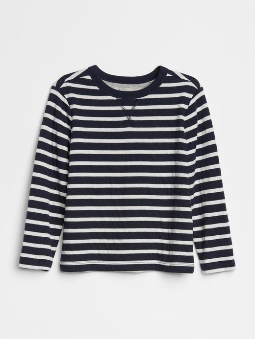 Bebek Lacivert renkli çizgili Çift Katmanlı Uzun Kollu T-Shirt