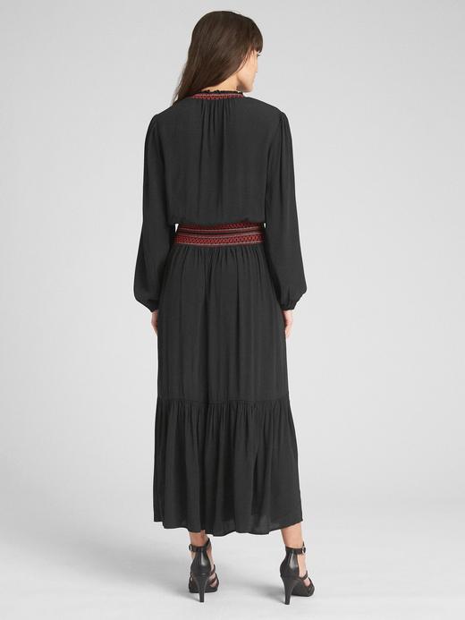 Siyah Uzun Kollu Maxi Elbise